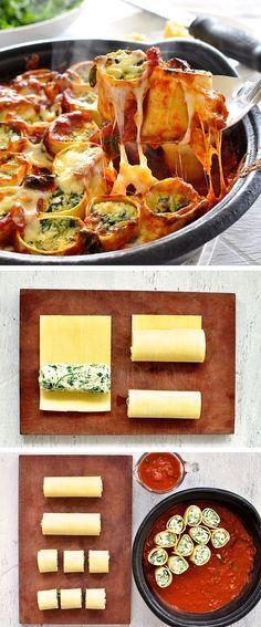 Cannelloni sur les stéroïdes!  Mettez un plat familier en quelque chose de mémorable.  Ingrédients de tous les jours.  Facile à faire.