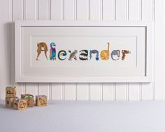 This fun and unique print will be created to order. Ideal for kids of all ages and look great on bedroom or nursery walls. The letter shapes are