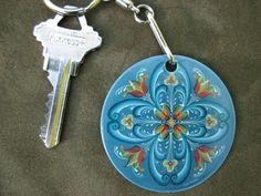 Rosemaled Key ring