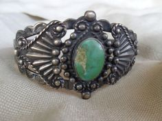 VINTAGE NAVAJO FRED HARVEY ERA SILVER PRODUCTS GR TURQUOISE STAMP CUFF BRACELET $139.00