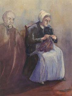 Aquarel getiteld 'Herinnering (vrouw herdenkt haar man)' door Kornelis Lodder, datering 1e helft 20e eeuw. Vlaardingen