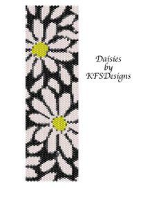 peyote stitch patterns | Peyote Stitch Cuff Bracelet Pattern - Daisies (Buy 2 Patterns - 3rd at ...