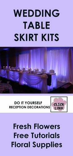 Easy DIY Kits for decorating wedding receptions, including skirting, ceiling drapes, wall coverings, backdrops and more.  Check out free step by step flower tutorials.