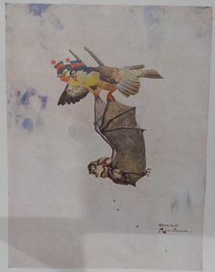 The Story of the Bat - Colour Plate by Harry Rountree - Aesop's Fables - Estimated (c) 1935.jpg 2,360×2,982 pixels