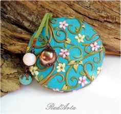 Flowers in Turquoise Sky Elegant Mirror for Ladies Gift for Her Mothersday Unique Polymer clay Mirror for Bag Accessories by RadArta