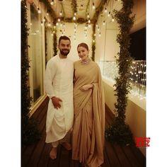 Anushka Sharma and Virat Kohli Diwali picture Couple picture Anushka Sharma Saree, Anushka Sharma And Virat, Virat Kohli And Anushka, Indian Wedding Couple, Indian Wedding Outfits, Indian Bridal, Indian Outfits, Indian Weddings, Bollywood Couples