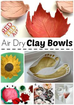 Love these STUNNING Clay Bowls. Air Drying Clay is a wonderful medium for children to work with! And these Air Drying Clay Bowls make wonderful Christmas Gifts for Kids to make. Or save the ideas for Mother's DAy. Just lovely.