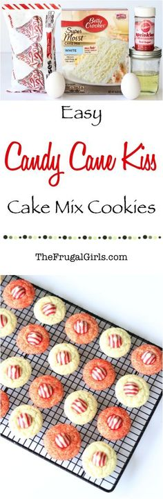 Easy Candy Cane Kiss Cookies Recipe! ~ from TheFrugalGirls.com ~ it doesn't get much easier than this delicious Cake Mix Cookie Recipe using Hershey's Candy Cane Kisses as the star!  Your friends and family will go crazy over these delicious little Christmas treats! #recipes #thefrugalgirls