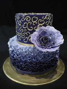 Blue peony cake  www.tablescapesbydesign.com https://www.facebook.com/pages/Tablescapes-By-Design/129811416695