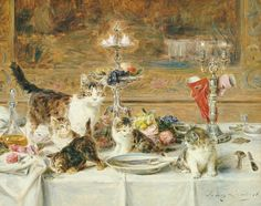 Any elegant dinner can end in ruin if 'The After Dinner Guests' forget their etiquette. Pntg Eugene Lambert