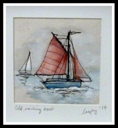 Loopy's old sailing boat! Freehand Machine Embroidery, Free Motion Embroidery, Free Machine Embroidery, Thread Painting, Thread Art, Fabric Painting, Sewing Appliques, Applique Patterns, Landscape Art Quilts