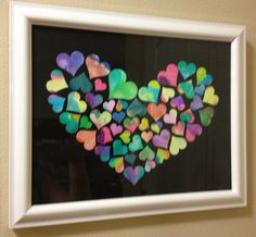 watercolor art piece. Kids art. Class art project. have kids water color drawing paper and then cut hearts out and mount on background. Good for school auction too.