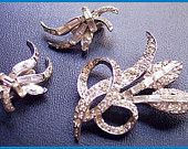 gorgeous demi set by Pell brooch & earrings excellent great for a wedding, prom, etc;
