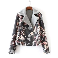 Furred Floral Pattern Jacket ❤ liked on Polyvore featuring outerwear, jackets, flower print jacket, floral jackets, fur jacket and floral-print bomber jackets
