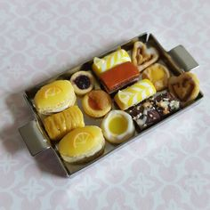 Miniature danish pastries, a tray of dollhouse miniature food, polymer clay food, dolls house biscuits, breakfast pastries and cakes by ChapelViewMiniatures on Etsy