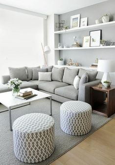 Cozy Modern Minimalist Living Room Design Ideas for Inspiration. To create a minimalist living room, here are some things you require to do:. minimalist living room with kids Room. You can get more details by clicking on the image. Small Apartment Living, Living Room Grey, Small Living Rooms, Small Apartments, Small Living Room Designs, Living Area, Tiny Spaces, Bedroom In Living Room, Living Room Artwork