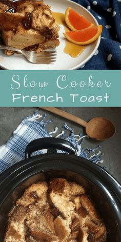 Slow Cooker French Toast: This is a seriously tasty French toast casserole that's crusty across the top and tender underneath. It's excellent to make for a crowd and reheats well the next day. Serve with your favorite seasonal fresh fruit along with maple Healthy Vegetarian Breakfast, Sweets Recipes, Healthy Breakfast Recipes, Easy Healthy Recipes, Dinner Recipes, Breakfast Toast, Make Ahead Breakfast, Breakfast Ideas, Breakfast Time