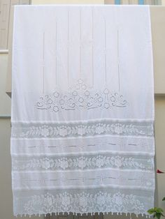 White Handmade Curtain With Atrante And Lace   Cottage Chic   Mediterranean  Style  Greek Traditional Design  Farm House Decor  Kitchen Decor |  Pinterest ...