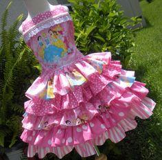Custom Boutique Disney Princess Pink Ruffle Dress Girl 2 3 4 5 6 on Etsy, $89.00