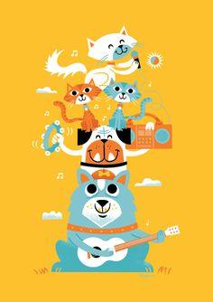 Purina One + Zeus Jones by Tad Carpenter #screenprint #poster #cat #dog