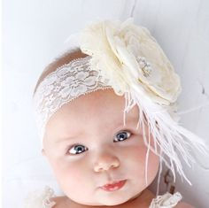 Ivory peony headband by tutusandbowtie on Etsy