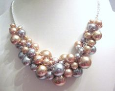 Pearl Cluster Necklace in Navy and White by CreationsbyCynthia1