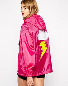 Buy Alice Takes A Trip Festival Mac Jacket With Cartoon Cloud Back Detail at ASOS. With free delivery and return options (Ts&Cs apply), online shopping has never been so easy. Get the latest trends with ASOS now. Festival Raincoat, Cartoon Clouds, Trench Jacket, Alice, Hooded Dress, Pink Jacket, Rain Wear, Spring Summer Fashion, Colors