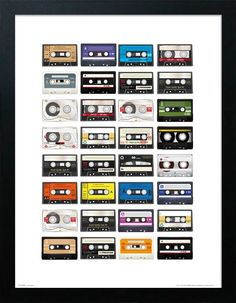Free delivery over to most of the UK ✓ Great Selection ✓ Excellent customer service ✓ Find everything for a beautiful home Cassette Tape Crafts, Wall Prints, Framed Art Prints, Home Music Rooms, Tape Wall Art, Vintage Music, Diy Arts And Crafts, Diy Wall Decor, Sticker Design