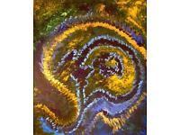 "Acryl Bild Gemälde ""EARTH BRAIN"" - 49,5 x 60 x 1,5 cm"