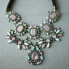 """Pastel crystal bib teardrop zara necklace New will ship out within 1-2 business days. 19-21"""" Jewelry Necklaces"""