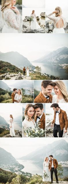 Lakeside Italian wedding with a beautiful lace detailed wedding dress with open back and groom in black pants and suede brown jacket | Photography by Nienke Van Dederen |