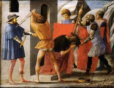Masaccio, Martirio di San Giovanni Battista, predella dal Polittico di Pisa, 1426, Staatliche Museen, Berlino. L'arte di Masaccio: http://www.finestresullarte.info/Puntate/2010/06-masaccio.php