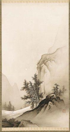 Japanese Landscape | Tattoo Ideas & Inspiration - Japanese Art | Hashimoto Gahô - Landscape with Autumn Moon, 1880s-1890s | #Japanese #Art #Landscape