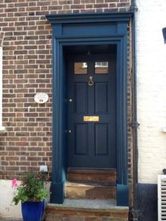look how it looks with that brick.  Hague Blue | Paint Colours | Farrow & Ball
