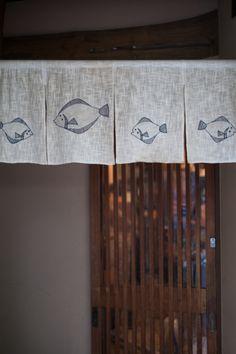 ヒラメとカレイ Noren with flounder motif.  Japan