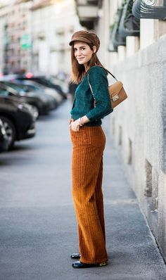 Find out what to wear with corduroy pants to bring the '70s pant style into 2017.
