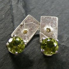 Sterling Silver Hand Forged Stud Earrings with Peridot Gems & 18ct Gold Accents £45.00
