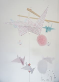 """Mobil """"Candy""""  mobil details, things for kids, pompones, pink bird"""