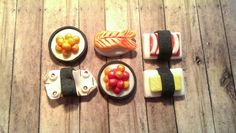 Sushi Party! Handmade Fondant Cupcake, Cake, Cookie Toppers. Set of 12 (2 of each Pattern)
