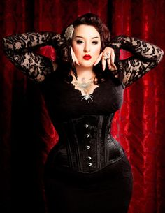 Beautiful corset worn by a lovely full-figured woman. Beauty comes in all sizes!