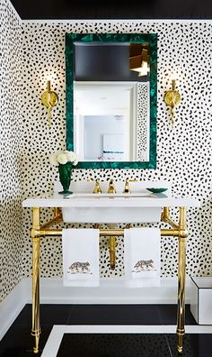 15 Incredible Small Bathroom Decorating Ideas - black and white polka dot wallpa. 15 Incredible Small Bathroom Decorating Ideas - black and white polka dot wallpaper, gold accents, malachite framed mirror + black tile floors Glamorous Bathroom, Beautiful Bathrooms, Bad Inspiration, Bathroom Inspiration, Bathroom Ideas, Spotted Wallpaper, Bold Wallpaper, Wallpaper Ideas, Print Wallpaper