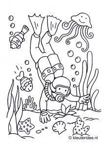 Duiker onder water, kleurplaat voor kleuters, thema Zeeland, kleuteridee.nl, Scuba diver, coloring page, free printable.
