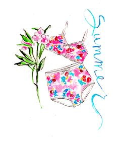 yes to long summer days - laceeswan Lingerie Illustration, Sea Illustration, Graphic Design Illustration, Vintage Prints, Vintage Floral, Vintage Designs, Fashion Sketches, Fashion Illustrations, Watercolor Fashion