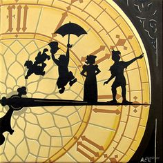 peter pan clock- acrylic painting by mrminorr Peter Pan Painting, Peter Pan Drawing, Peter Pan Art, Disney Kunst, Disney Art, Disney Pixar, Disney Clocks, Clock Painting, Painting & Drawing