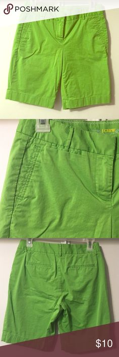 Lime Green Bermuda Dress Shorts Excellent condition. No signs of wear. Pockets in front. Fake pockets on back. Bright green Bermuda style dress shorts. Great for the summer months in the office! J. Crew Shorts Bermudas