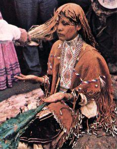 Nita Quintero at her Apache Sunrise Dance (Na'ii'ees), White Mountain Apache Tribe, Arizona. Photo: Bill Hess, National Geographic, February 1980.