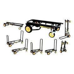 8-Way Convertible Cart, 33-1/4 In H, Black by Multi-Cart. $229.25. Convertible Hand Truck, Horizontal Load Cap. 500 lb., Vertical Load Cap. 500 lb., Handle Type Steel, Overall Height 33-1/4 In., Overall Width 18 In.Overall Length 45 In.Folded Height 9-1/2 In.Folded Width 18 In.Wheel Type 4 Swivel, 2 With BrakeMaterial Steel, Caster Dia. 4 In. Front and 6 In. Rear, Caster Width 1 In. Front and 2 In. Rear, Color Black, Powder Coat Finish, Includes 4 Casters and Nut and Lock W...