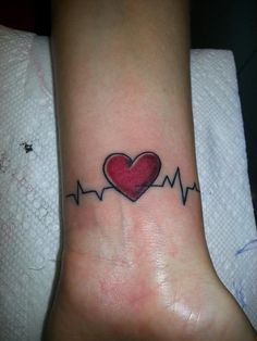 EKG tattoo, sans heart, different placement... use initial runs from when the kiddos are born.