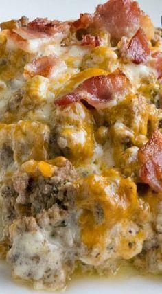 Bacon Cheeseburger Cauliflower Casserole ~ It's a winner!