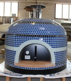"""Custom Napolino Pizza Oven with """"Whisper Blue"""" trim. Loving the name and look of that color choice. Outdoor Bbq Kitchen, Outdoor Kitchen Design, Outdoor Kitchens, Patio Design, Outdoor Rooms, Outdoor Living, Diy Pizza Oven, Pizza Oven Outdoor, Pizza Ovens"""